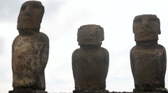 Close up on Moai at the National Park in Hanga Roa, Easter Island Stock Footage
