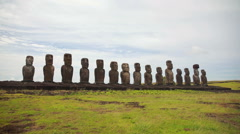 Wide angle of all fifteen Moai at the Rapa Nui National park Stock Footage