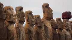 All fifteen Moai at the National Park in Hanga Roa, Easter Island Stock Footage