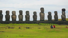 All fifteen standing Moai at Ahu Tongariki Stock Footage