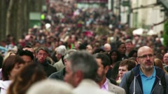 Massive Crowd Of People On Paris Shopping Street Slo Mo Stock Footage