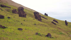 Moai statues on the hillside, Easter Island Stock Footage