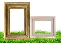 Photo frame on green grass nature background - stock photo