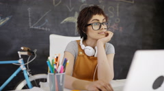 4K Entrepreneur businesswoman working at her desk Stock Footage