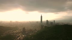 Inspiring Taipei Aerial Shot moving across Skyline in afternoon Sun Taiwan - stock footage