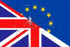brexit blue european union EU flag on broken glass effect and half great brit - stock illustration