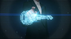 Businesswoman touching shape of key, circuit board light, security, solution Stock Footage