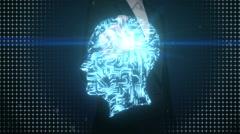 Businesswoman touching shape of brain head, digital lines, intelligence Stock Footage