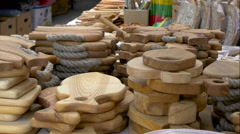 Lots of wooden decorations and stuffs in display Stock Footage