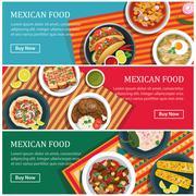 mexican food web banner flat design - stock illustration