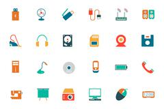 Electronics Colored Vector Icons Set Stock Illustration