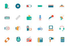 Electronics Colored Vector Icons Collection - stock illustration