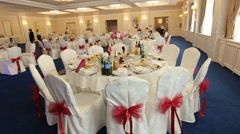 Interior of a wedding hall decoration ready for guests Stock Footage