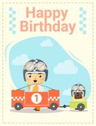 Happy birthday card with little boy and friend - stock illustration