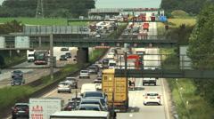 Traffic jam, highway A5, Nordwestkreuz Frankfurt Stock Footage
