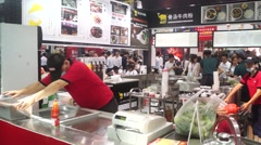 Chinese food and beverage companies to display delicious food and production - stock footage