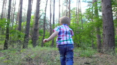 Boy pathway running slowly - stock footage