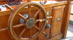 The wooden wheel on the vessel boat Stock Footage