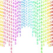 Binary code rainbow and white background with digits on screen. Algorithm binary Stock Illustration