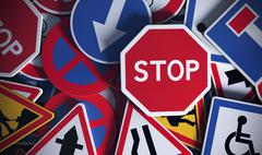 French Road Signs, Safety Stock Illustration