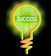 Success Lightbulb Indicating Win Succeed And Winner Stock Illustration