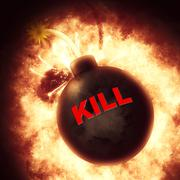 Kill Bomb Showing Inferno Exploding And War - stock illustration