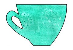Cup of tea and coffee. Handmade. Watercolor, Mixed media. Cut paper. - stock illustration