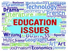 Education Issues Indicating Affairs Educate And Critical - stock illustration