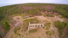 The aerial shot of the ancient ruined building Stock Footage