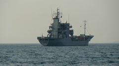 The big naval ship in the middle of the ocean Stock Footage