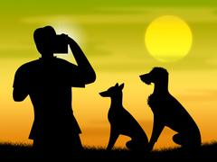 Dogs Photo Representing Camera Photography And Snapshots - stock illustration