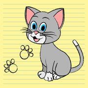 Cute Cat Indicating Feline Pedigree And Kitten Stock Illustration