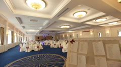 Interior of a wedding hall decoration ready for guests - stock footage