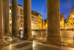 Pantheon Square illuminated at night, Rome, Lazio, Italy Stock Photos