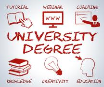 University Degree Meaning Educational Establishment And Studying - stock illustration
