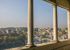Balcony overlooking Rome cityscape, Lazio, Italy Stock Photos