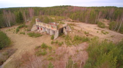 Rotating view of the old ruin building Stock Footage