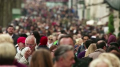 Enormous Crowd Of People On Busy Shopping Street Slo Mo - stock footage