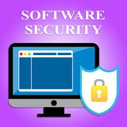 Software Security Showing Web Site And Computing Stock Illustration