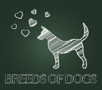 Breeds Of Dogs Showing Pets Reproduce And Offspring - stock illustration