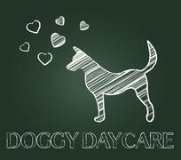 Doggy Daycare Representing Preschool Canines And Child Stock Illustration