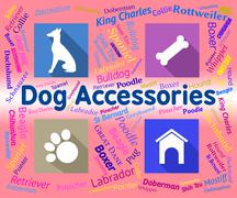 Dog Accessories Showing Puppies Puppy And Products - stock illustration