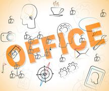 Business Office Representing Offices Working And Workplace - stock illustration