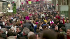 Street Crowded With Huge Amount Of People Stock Footage