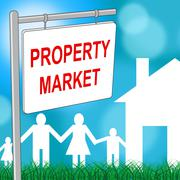 Property Market Sign Representing Real Estate And Markets - stock illustration