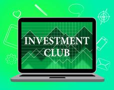 Investment Club Showing Group Recreation And Association Stock Illustration