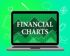Financial Charts Showing Web Site And Infochart Stock Illustration