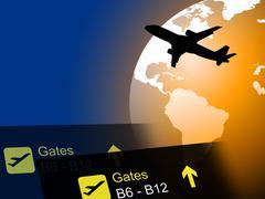 World Flight Representing Break Air And Flights - stock illustration