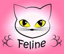 Feline Cat Indicating Pedigree Kitty And Kitten Stock Illustration