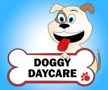 Doggy Daycare Indicating Puppies Pup And Kindergarten Stock Illustration